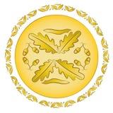 Oak golden ornament. Blazon vector royalty free illustration