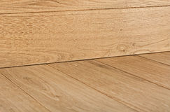 Oak hardwood flooring with corner. Stock Photo