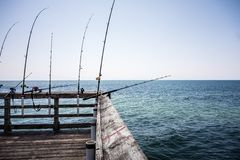 Oak islad north carolina fishing pier. Oak islad north carolina fishing  pier Stock Photography