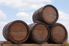 Oak kegs with  wine Stock Images
