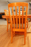 Oak kitchen chairs and table Stock Images