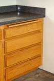Oak kitchen drawers and new countertop Stock Photos