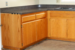 Oak kitchen drawers and new countertop Royalty Free Stock Photos