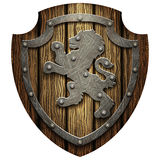 The oak knight's shield with rivets and metal Lev Stock Images