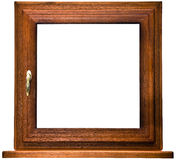 Oak laminated fiberglass window with gold handle Stock Photo