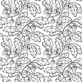 Oak leaf acorn black white seamless background. Vector oak leaf acorn black white seamless background pattern Stock Images