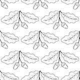 Oak leaf and acorn, liner, seamless 1 Royalty Free Stock Image