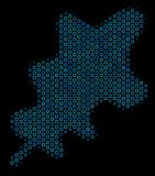 Oak Leaf Composition Icon of Halftone Spheres. Halftone Oak leaf mosaic icon of spheric bubbles in blue color tints on a black background. Vector spheric dots Royalty Free Stock Image