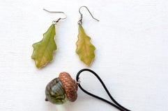 Oak Leaf Earrings. Acorn Pendant. Stock Image