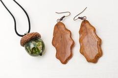 Oak Leaf Earrings. Acorn Pendant. Stock Photography
