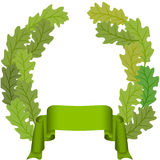Oak leaf and green ribbon Royalty Free Stock Image