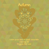 Oak leaf with watercolor pattern for autumn design Stock Photography