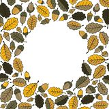 Oak leaves and acorns with blank round place Stock Illustration
