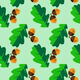 Oak leaves and acorns. Seamless pattern with acorns and leaves Royalty Free Illustration
