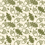 Oak leaves and acorns vector seamless pattern. Pattern seamless, oak acorn, nature plant oak leaf, flora oak leaves illustration Vector Illustration
