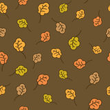Oak leaves seamless pattern. Autumn background Royalty Free Stock Photo