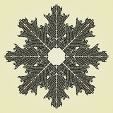 Oak leaves star black original woodcut Royalty Free Stock Images