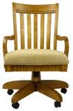 Oak Office Chair. Tilt Swivel Oak Office Chair with Fabric Seat Stock Photo