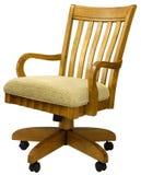 Oak Office Chair. Tilt Swivel Oak Office Chair with Fabric Seat Royalty Free Stock Image