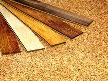 Oak parquet and cork flooring texture Royalty Free Stock Photos