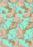 Oak pattern. Seamless vector pattern made of oak branches, background for fabric or wrap paper Royalty Free Stock Images
