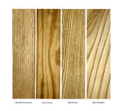 Oak, Pine,Ash.Elm real wood samples, isolated Royalty Free Stock Photos