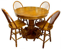 Oak Pub Table. And Four Bar Stools Royalty Free Stock Image