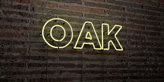 OAK -Realistic Neon Sign on Brick Wall background - 3D rendered royalty free stock image. Can be used for online banner ads and direct mailers Stock Image
