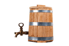 Oak retro barrel with old copper crane isolated on white Royalty Free Stock Photography