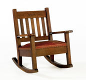 Oak Rocking Chair with Leather Cushion Stock Image