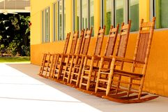 Oak Rocking Chairs Royalty Free Stock Photo
