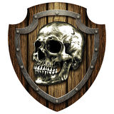 Oak shield with skull and metal studs Royalty Free Stock Photos