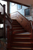 Oak Staircase Upstate Pennsylvania. Old Oak Multi-level Staircase at Bread and Breakfast in Tawanda Pennsylvania Royalty Free Stock Photography