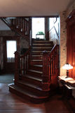 Oak Staircase Upstate Pennsylvania. Old Oak Multi-level Staircase at Bread and Breakfast in Tawanda Pennsylvania Stock Image