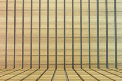 Oak tone wood plank wall and floor Royalty Free Stock Photo
