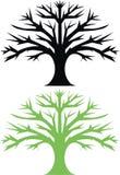 Oak tree. One black and one green oak tree vector illustration
