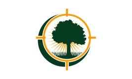 Oak Tree Center icon. Logo Design Template Vector Royalty Free Stock Image