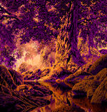 Oak Tree Forest. Image from an original painting by Larry Jacobsen. This is image has a Maxfield Parrish look.  / MF-003 Royalty Free Stock Photos