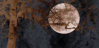 Oak tree and full moon collage. With paper texture Royalty Free Stock Photos