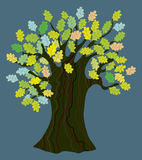 Oak tree with leaves - funny design Royalty Free Stock Photos