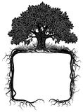 Oak tree with roots frame. Artistic banner and page design. Vintage engraving stylized drawing. Vector illustration stock illustration
