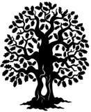 Oak tree silhouette. Illustration royalty free illustration