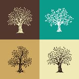 Oak trees silhouette set Stock Photo
