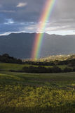 Oak View, California, USA, March 1, 2015, full rainbow over rain storm in Ojai Valley Royalty Free Stock Photo