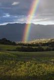 Oak View, California, USA, March 1, 2015, full rainbow over rain storm in Ojai Valley Royalty Free Stock Photo