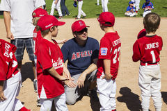 Oak View, California, USA, March 7, 2015, Ojai Valley Little League Field,youth  Baseball, Spring, coach speaks to Tee-Ball Divisi Stock Image