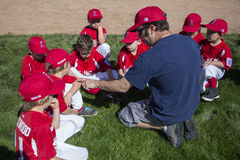 Oak View, California, USA, March 7, 2015, Ojai Valley Little League Field,youth  Baseball, Spring, coach teaches Tee-Ball Division Royalty Free Stock Photo