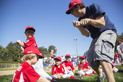 Oak View, California, USA, March 7, 2015, Ojai Valley Little League Field,youth  Baseball, Spring, coach teaches Tee-Ball Division Stock Photo