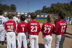 Oak View, California, USA, March 7, 2015, Ojai Valley Little League Field,youth  Baseball, Spring, players uniforms show their nam Royalty Free Stock Photography