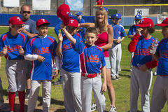 Oak View, California, USA, March 7, 2015, Ojai Valley Little League Field,youth  Baseball, Spring, raise their caps when name is a Royalty Free Stock Images